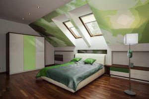 Chambre idées de décoration avec des plafonds a-frame