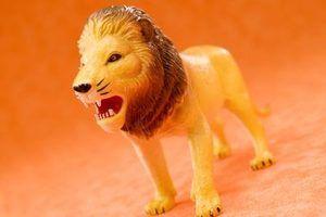 Hide lions de jouets en plastique pour un jeu de chasse au lion.